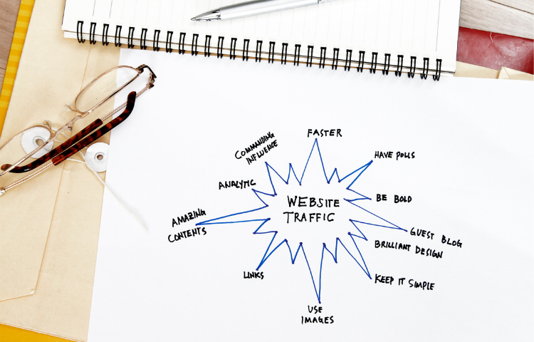 good tips for seo internal and external links diagram on paper with glasses